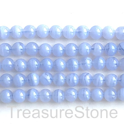 "Bead, blue lace agate, Chalcedony, grade A-, 6mm round. 15"",67pc"