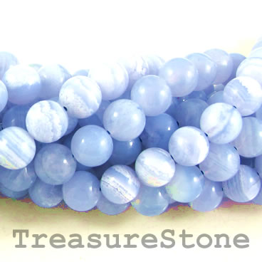 Bead, blue lace agate, grade B+, 8mm round. 15.5-inch, 49pcs