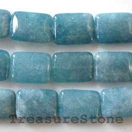 Bead, blue quartz, 15x20mm flat rectangle. 16-inch strand.