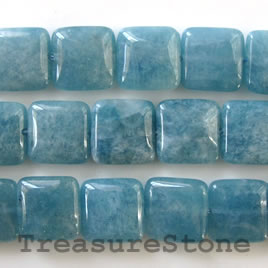 Bead, blue quartz, 14mm flat square. 16-inch strand.