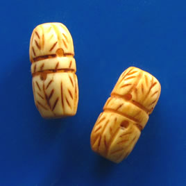 Bead, antiqued bone, 20x10mm carved tube. Pkg of 3.