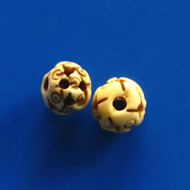 Bead, antiqued bone, 10mm carved round. Pkg of 4