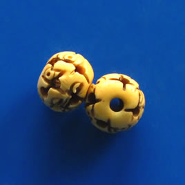 Bead, antiqued bone, 12mm carved round. Pkg of 5.