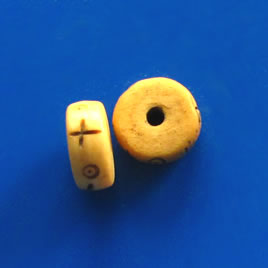 Bead, antiqued bone, 12x5mm carved heishi. Pkg of 7