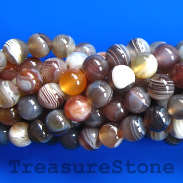 Bead, botswana agate, 8mm round, Grade A. 15.5-inch strand.