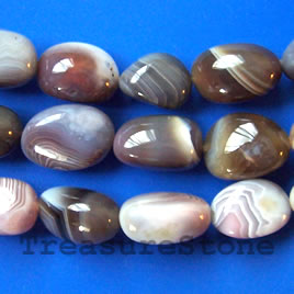 Bead, botswana agate, 15x22mm nugget, A grade. 16-inch.