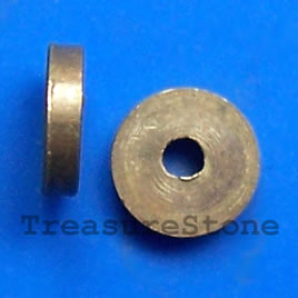 Bead, solid brass, 2x7mm disk. Pkg of 8.