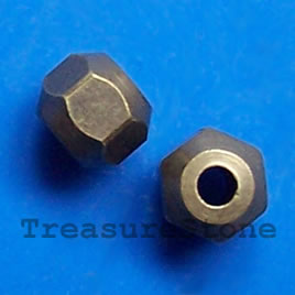 Bead, brass, 5x6mm faceted. Pkg of 8.