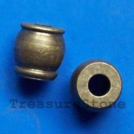 Bead, solid brass, 7mm drum. Pkg of 7.