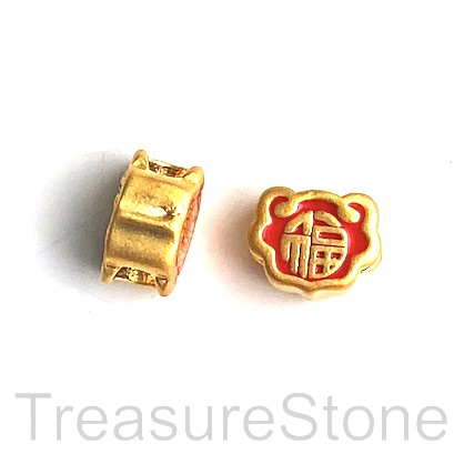 Bead,brass, 24K gold plated,12mm gold lock, fortune, hole:4mm.Ea