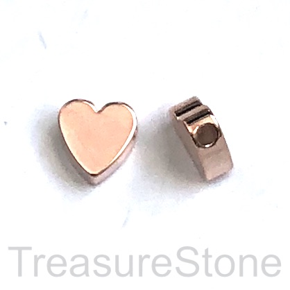 Bead, brass, 8mm rose gold, side-drilled heart. pack of 5.