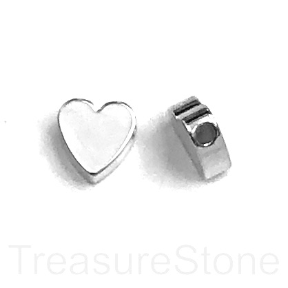 Bead, brass, 8mm silver, side-drilled heart. pack of 5.