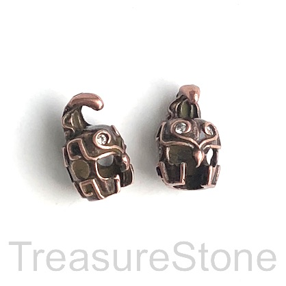 Bead, brass, antiqued copper, 10x16mm helmet. Ea