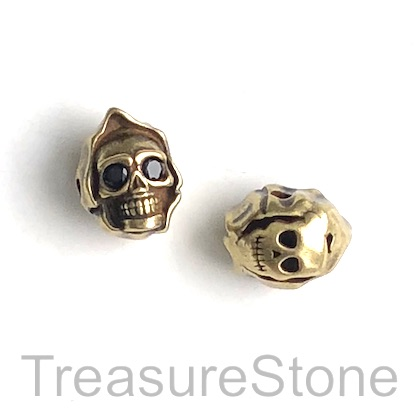 Bead, brass, 9x13mm brass skull. Each