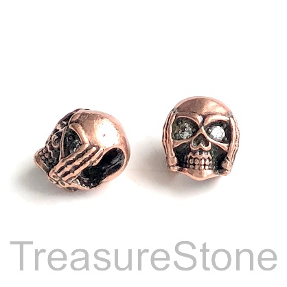 Bead, brass, 11mm copper skull with crystals. Each