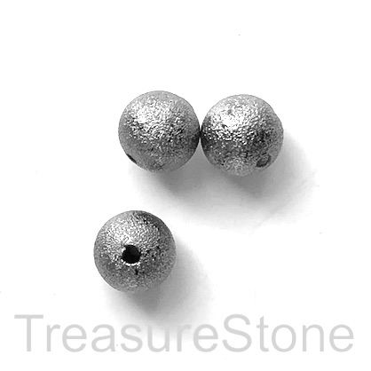 Bead, grey coloured, brushed, brass, 8mm, pkg of 10 pcs