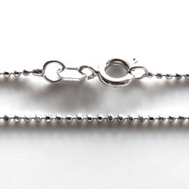 "Chain, rhodium-finished brass, 1mm ball, 17"". Sold individually"