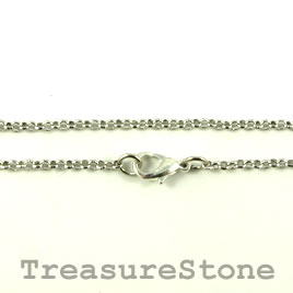 "Chain, rhodium-finished brass, 2mm rolo, 18"". Sold individually"