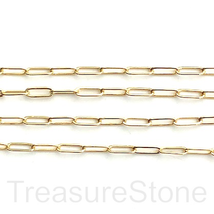 Chain, brass, gold-finished, 3x9mm. Sold per pkg of 0.95 meter.