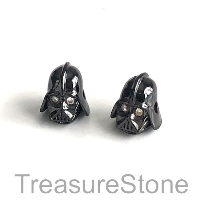Bead, brass, 11x13mm Star Wars, black Darth Vader mask. Each