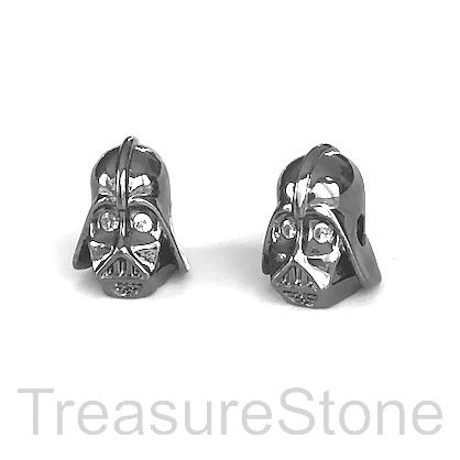 Bead, brass, 9x12mm Star Wars, black Darth Vader mask. Each