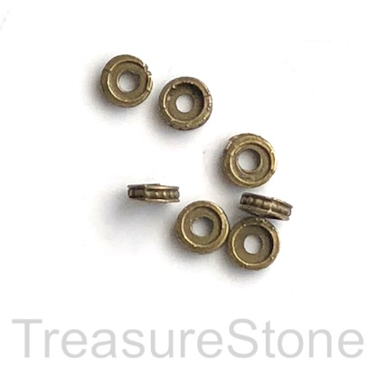 Bead, antiqued brass finished, 1.5x6mm disc. Pkg of 22