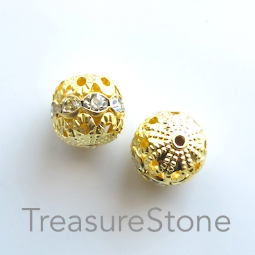 Bead, gold-plated brass, 12mm filigree w crystals, 5 pcs