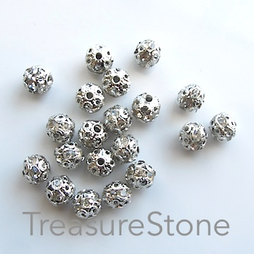 Bead, silver-plated brass, 7x8mm filigree w crystals, 8 pcs