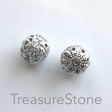 Bead, silver-plated brass, 12mm filigree w crystals, 5 pcs