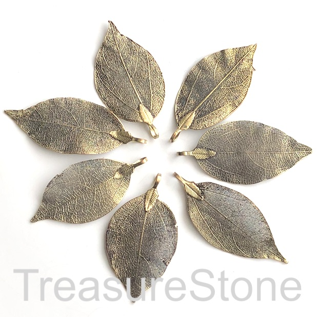 Pendant, brass-colored brass leaf, 40-60mm long. Each.