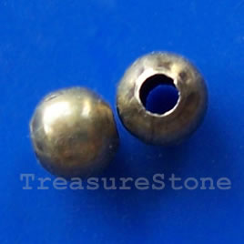 Bead, brass-colored, 2mm round, pkg of 200 pcs