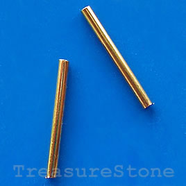 Tube, gold-plated, 2x20mm. Pkg of 30.