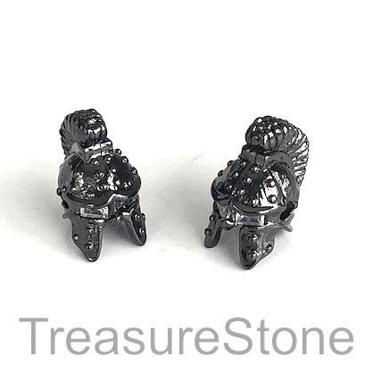 Bead, brass, 15mm black warrior helmet with crystals. Each