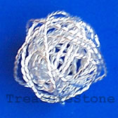 Bead, silver-plated wire wrapped, 20mm round. Pkg of 5.