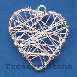 Charm/Pendant, silver-plated wire wrapped, 30mm heart. Pkg of 4.