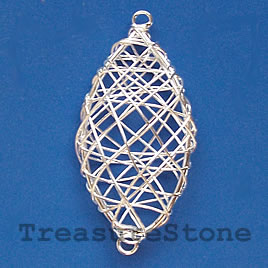 Charm/Pendant, silver-plated wire wrapped,23x43mm oval. Pkg of 4
