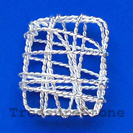 Charm/Pendant, silver-plated wirewrapped,23x28mm rectangle. 4pcs