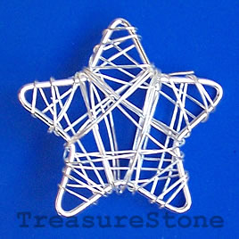 Charm/Pendant, silver-plated wire wrapped, 39mm star. Pkg of 4.