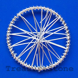 Charm/Pendant, silver-plated wire wrapped, 34mm wheel. Pkg of 4.