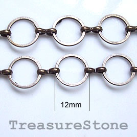 Chain, brass, bronze-finished, 12mm. Sold per pkg of 1 meter.