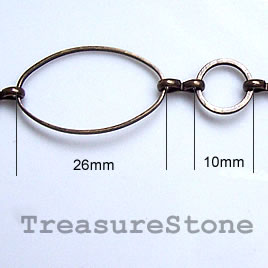 Chain, brass,bronze-finished, 15x26/10mm.Sold per pkg of 1 meter