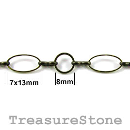 Chain, brass, bronze-finished, 13mm. Sold per pkg of 1 meter.