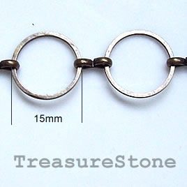 Chain, brass, bronze-finished, 15mm. Sold per pkg of 1 meter.