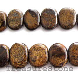 Bead, bronzite, 8 to 9x13mm graduated Flat. 16-inch strand.