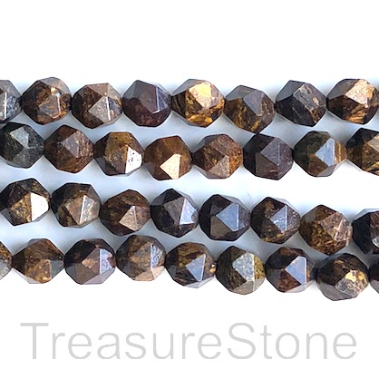 Bead, Bronzite, 8mm, faceted nugget, star cut, 15 inch, 45pcs