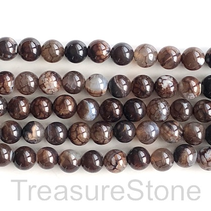 Bead, agate (dyed), brown pattern 3, 8mm round. 15.5-inch, 47pcs
