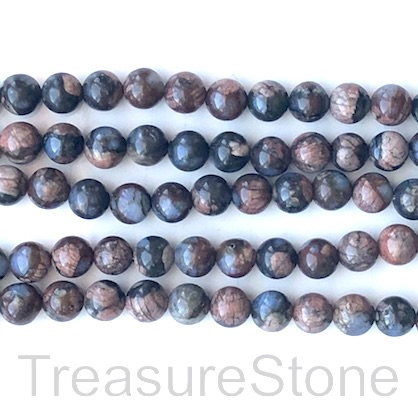 Bead, brown, blue opal, Round, 8mm. 15.5 inch, 47pcs