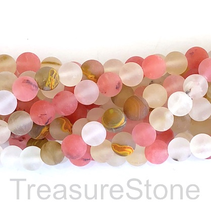 Bead, brown cherry quartz glass, matt, 8mm round. 15 inch, 48pcs