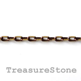 Chain,brass,brown-gold finished, 2x4mm rectangle. Pkg of 1 meter