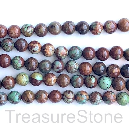 Bead, brown, green opal, Round, 8mm. 16 inch, 50pcs